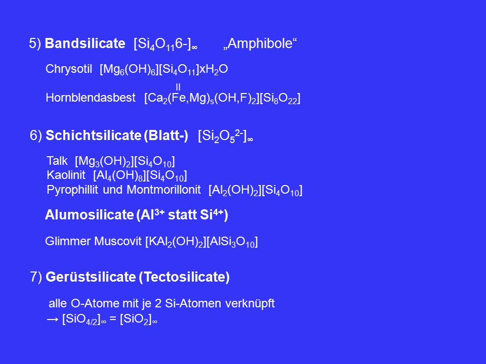 """5) Bandsilicate [Si4O116-]∞ """"Amphibole"""